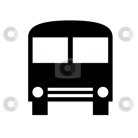 Bus silhouette stock photo, Black silhouette of bus isolated on white background. by Martin Crowdy