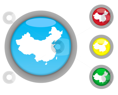 China map button icons stock photo, Set of four colorful glossy China map button icons with light effect isolated on white background. by Martin Crowdy