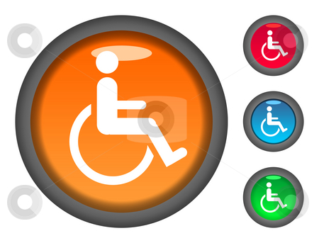 Disabled button icons stock photo, Set of colorful circular disabled button icons, isolated on white background. by Martin Crowdy