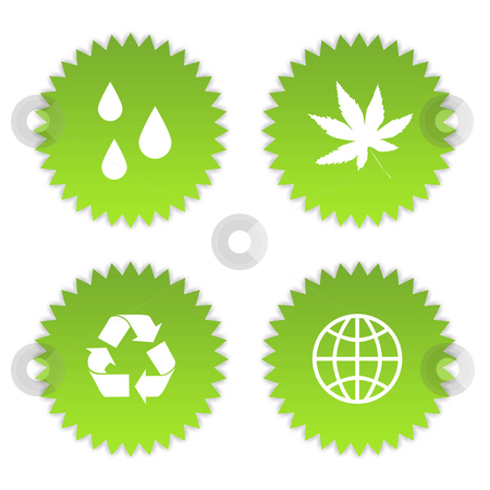 Green eco symbols stock photo, Set of four green eco symbols, isolated on white background. by Martin Crowdy