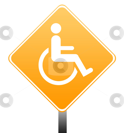 Disabled sign stock photo, Disabled road sign isolated on white background with copy space. by Martin Crowdy