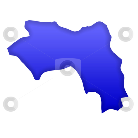 Guinea map stock photo, Guinea map in blue isolated on white background with clipping path and copy space. by Martin Crowdy