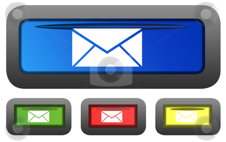 Glossy email buttons stock photo, Set of four rectangular shaped glossy emila or post button icons isolated on white background. by Martin Crowdy