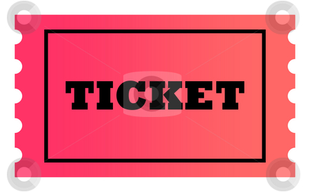 Ticket stock photo, Ticket with copy space isolated on white background. by Martin Crowdy