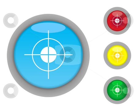 Target buttons stock photo, Set of four glossy target button icons with light effect isolated on white background. by Martin Crowdy