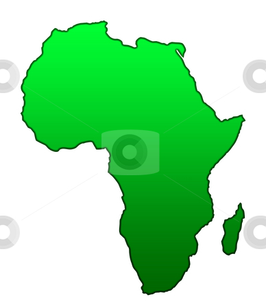 Map of African continent stock photo, Map of African continent isolated on white background. by Martin Crowdy