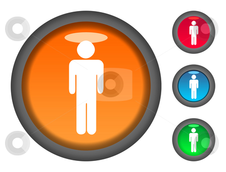 Male button icons stock photo, Set of male shaped colorful circular button icons, isolated on white background. by Martin Crowdy