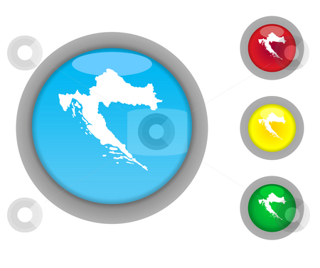 Croatia map button icons stock photo, Set of four colorful glossy Croatia map button icons with light effect isolated on white background. by Martin Crowdy