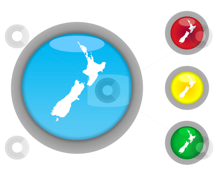 New Zealand button icons stock photo, Set of four colorful glossy New Zeland button icons with light effect isolated on white background. by Martin Crowdy