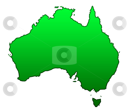 Map of Australia stock photo, Map of Australia isolated on white background. by Martin Crowdy