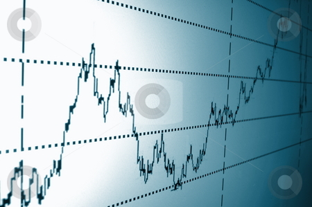 Stock chart stock photo, Financial graph or stock chart on screen of a display by Gunnar Pippel