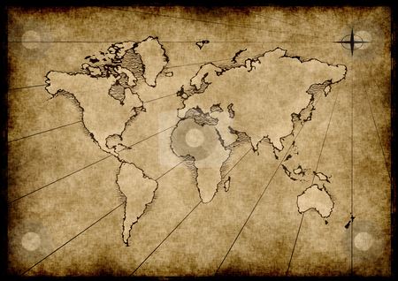 Old grungy world map stock vector clipart, An old world map drawn onto parchment paper by Phil Morley