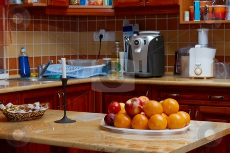 Kitchen stock photo, Kitchen with fruits on the table by P?