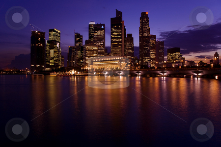Singapore Skyline stock photo, A night picture of Singapore Skyline. by Alan Poulson