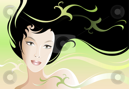 Spring Girl stock vector clipart, Illustration of a young and beautiful woman. by Neda Sadreddin