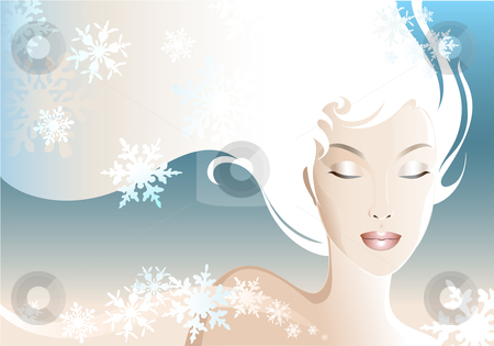 Snow Woman clipart stock vector clipart, Illustration of a young and beautiful woman. by Neda Sadreddin