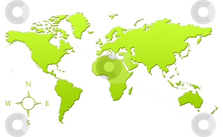 Green map of Planet Earth stock photo, Green gradient map of Planet Earth or World in 3d, isolated on white background. by Martin Crowdy