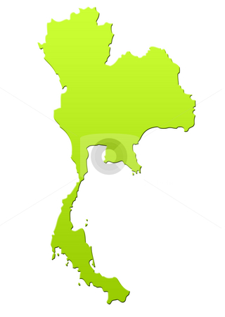 Thailand map stock photo, Thailand map in green, isolated on white background. by Martin Crowdy