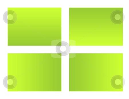 Blank green eco labels stock photo, Set of four blank eco labels isolated on white background. by Martin Crowdy