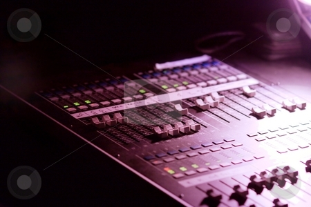 Mixer stock photo, Soundboard mixer at a concert in the dark by P?
