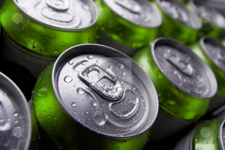 Beer stock photo, Many cans of cold beer with condensation water droplets by P?