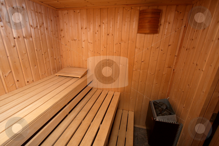 Sauna stock photo, Interior of a wooden finnish sauna by P?