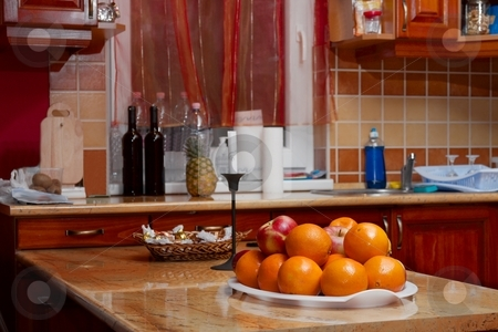 Kitchen stock photo, Kitchen interior with fruit on the table by P?