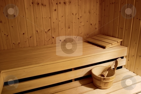Sauna stock photo, Interior of a sauna in soft light by P?