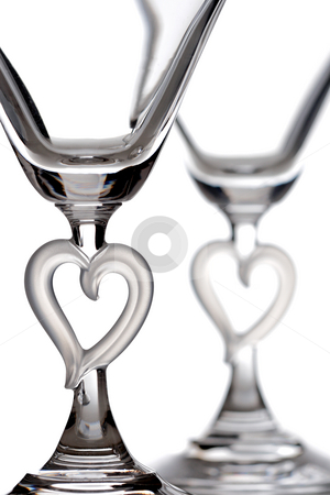 Martini glasses stock photo, Empty martini heart shaped glasses, isolated on white by Nikola Spasenoski