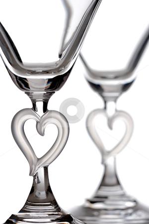 Martini glasses stock photo, Empty martini heart shaped glasses, isolated on white by Nikola Spasenoski