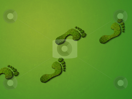 Make Greener Footprints stock photo, Grass footprints on a green background, relating to the environment. View close up for high detail. by Alex Stokes