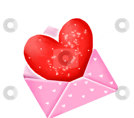 Red heart in pink envelope stock photo, Red heart sign in the pink envelope isolated on white by Su Li