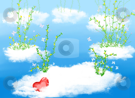 Cloud ,flower and heart