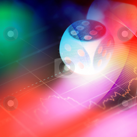 Stock chart with  gambling dice on the color background stock photo, Stock chart with  gambling dice on the color background by Su Li