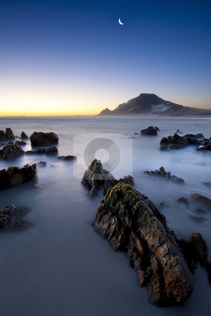 Sunset Moon stock photo, Sunset image with the moon at Hangklip near Cape Town South Africa by Kobus Tollig