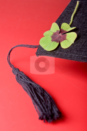 Tassel stock photo, Detail of a good luck cloverleaf on a graduation cap by Anneke