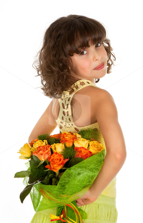 Roses for mother's day stock photo, Little girl hiding roses for mother's day by Anneke