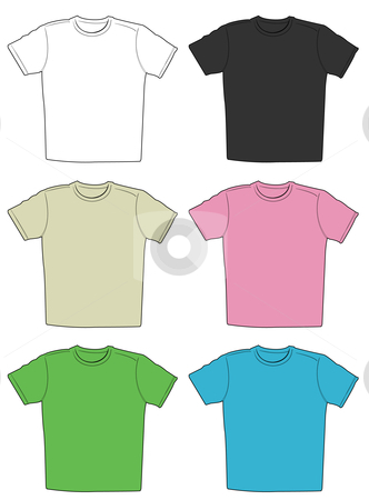 Vector illustration of t-shirts stock vector clipart, Vector illustration of t-shirts in different colors isolated on white background by Igor Nazarenko