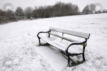 Winter park stock photo, A path bench in a park covered in snow with trees in the background by Mark Bond