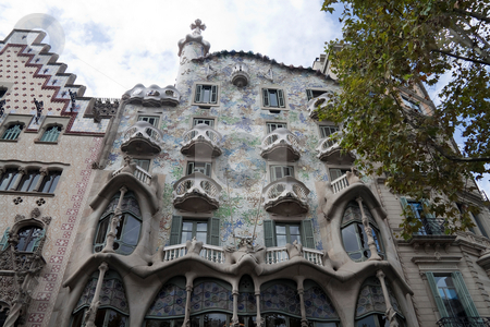 Casa Batllo stock photo, Casa Batllo in Barcelona, Spain by architect Gaudi by Kevin Tietz