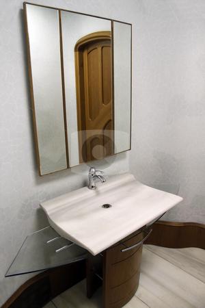 Modern Sink stock photo, Modern white pedestal sink with mirror by Kevin Tietz