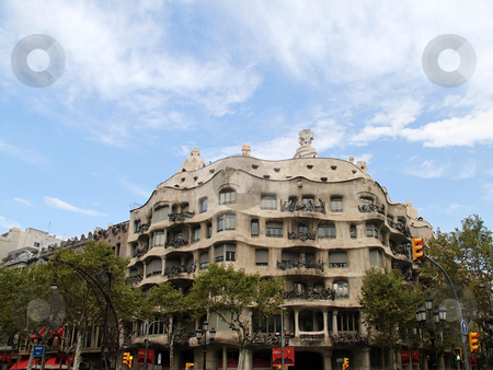Casa Mila stock photo, Casa Mil? in Barcelona, Spain by architect Gaudi by Kevin Tietz