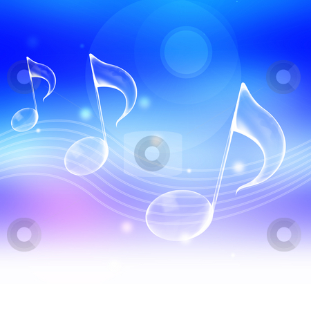 Music note stock photo, Music note symbol with abstract blue background by Su Li