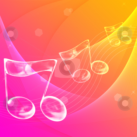 Music note stock photo, Music note symbol with abstract color background by Su Li