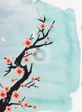 Chinese painting of plum stock photo, Chinese painting of plum on the blue background by Su Li