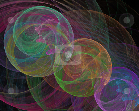 Multicolored swirls stock photo, Multicolored swirls on black background by Igor Nazarenko