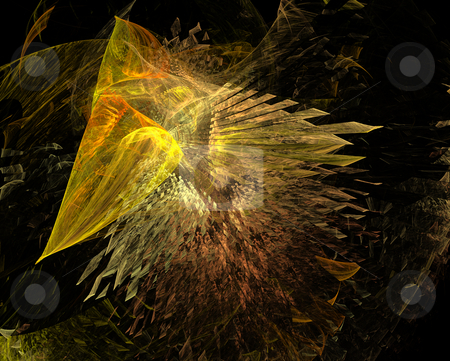 Abstract golden wings stock photo, Abstract golden wings on black background by Igor Nazarenko