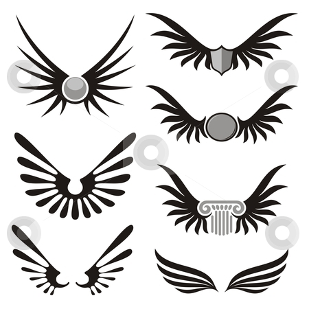 Wings 01 stock vector clipart, Wing shaped design elements to give your design a flying flavor by fractal.gr