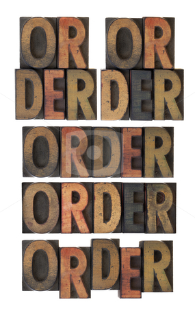 Order word in vintage wood type stock photo, Several layout version of word order, vintage letterpress wood type scratched and stained by ink, isolated on white by Marek Uliasz