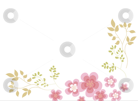 Floral stock photo, Pink flower and leaves on the white background by Su Li